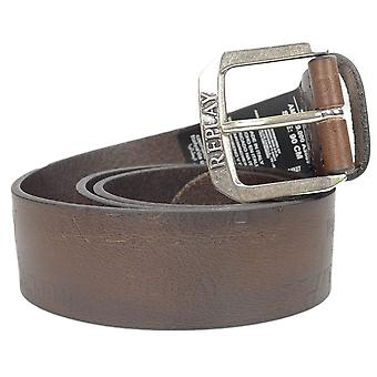 Replay Brown Embossed Logo Leather Belt
