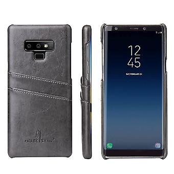 For Samsung Galaxy Note 9 Case Deluxe Wallet Leather Cover 2 Card Slots,Grey