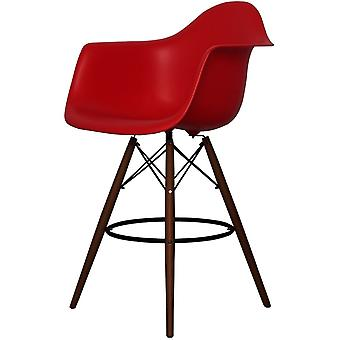 Charles Eames Style Red Plastic Bar Stool With Arms - Walnut Legs