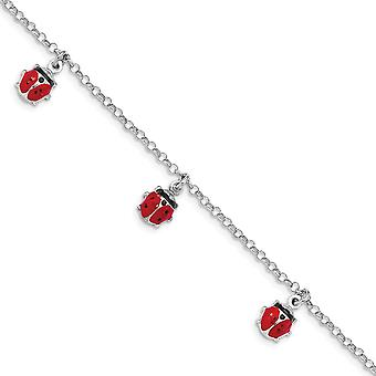 925 Sterling Silver Rhodium plated Enameled Ladybug With 1 In Ext Bracelet 6 Inch - 2.9 Grams