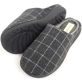 Mens molleton doublé Design Checked Mules / chaussons - gris - 10 UK