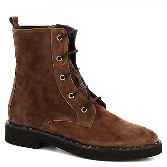 Women's handmade lace-ups boots in dark brown suede with side zip