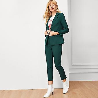 Solid single button lapel collar blazer with pants