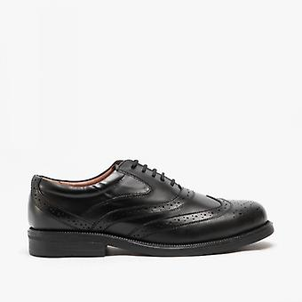 Scimitar Stewart Mens Leather Brogue Shoes Black