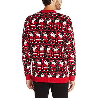 Blizzard Bay Men's Conga Line Santa Ugly Christmas Sweater, Black/Red, XX-Large