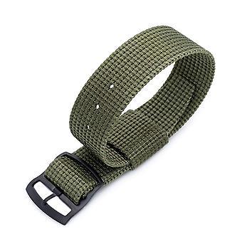 Strapcode n.a.t.o bracelet de montre zulu g10 20mm ou 22mm miltat raf n7 3-d tissé nylon militaire vert, pvd boucle de verrouillage de serrure d'échelle noire