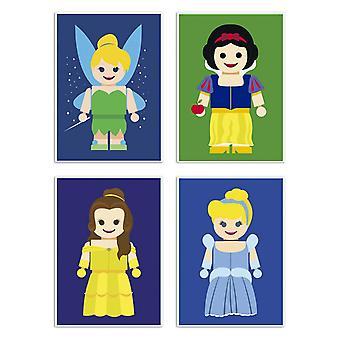 4 Art-Poster 20 x 30 cm - Disney Princesses Toys Pack - Rafa Gomes 20 x 30 cm