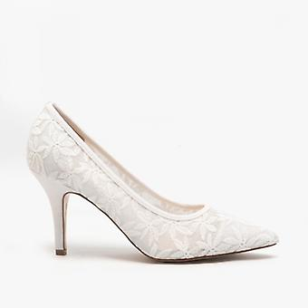 Lotus Briony Ladies Lace Court Shoes Branco