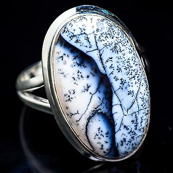 Large Dendritic Opal Ring Size 12.25 (925 Sterling Silver)  - Handmade Boho Vintage Jewelry RING3464