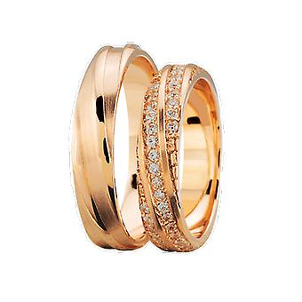 Rose gold wedding rings with 3 rows of diamonds