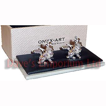 Rabbit Cufflinks by Onyx Art - Gift Boxed - Coursing Lamping Hare Cuff Link