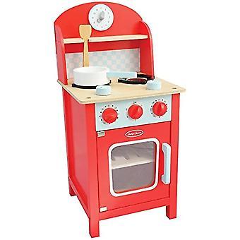 Indigo jamm Mini liesi, punainen teeskennellä pelata puinen keittiö yksikkö siirrettävät osat annd tarvikkeet