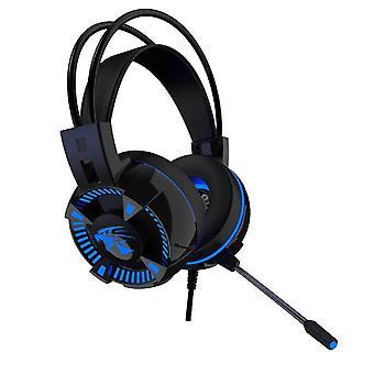 V5000 gaming headset med LED blå-USB + 3.5 mm