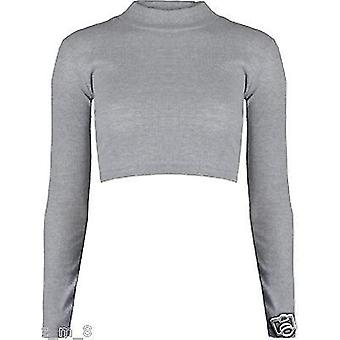 Dames Geribbelde Turtle Neck Crop Top