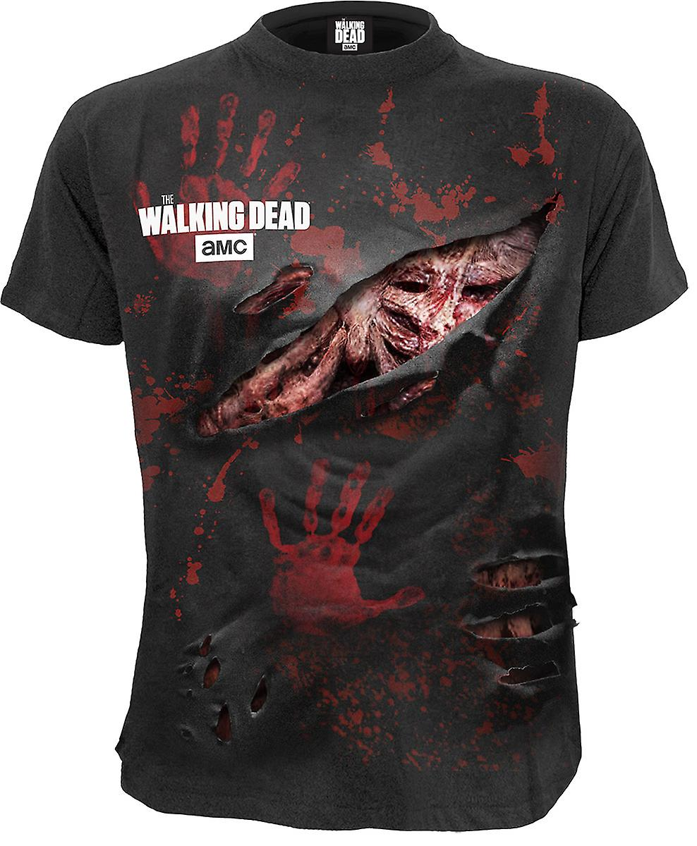 Spiral Direct Gothic RICK - ALL INFECTED - Walking Dead Ripped T-Shirt Black The Walking Dead Rips Blood Zombie