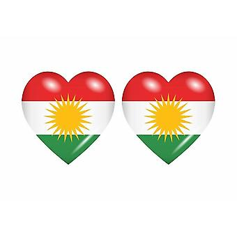 2x Stick sticker flag heart kurdistan