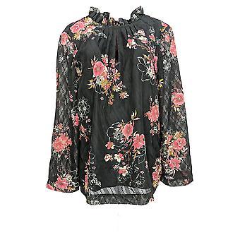 Du Jour Women's Top Long Sleeve Floral Printed Dot Woven Black A347549