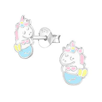 Mernicorn - 925 Sterling Silver Colourful Ear Studs - W37888x