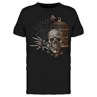 Colorful Tarantula, Skull, Cage Tee Men's -Image by Shutterstock