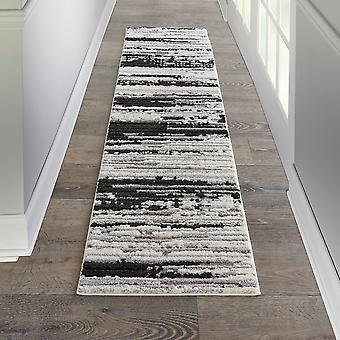 Zermatt Designer Hallway Runner Zer02 In Ivory Charcoal By Nourison