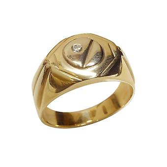 Yellow and white gold cachet ring with diamond