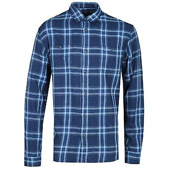 Edwin donkerblauw gecontroleerd lange mouwen arbeid shirt