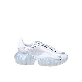 Jimmy Choo Diamondflaksilverwhite Kvinder's Sølv Læder Sneakers
