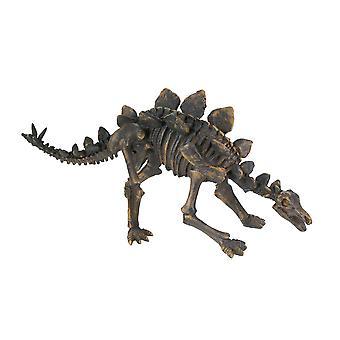 Distressed Bronze Finish Stegosaurus Dinosaur Fossil Skeleton Statue 21 Inch