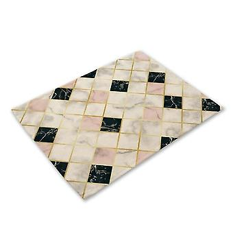 Geometric Marble Printed Kitchen Placemat Dining Table Mat, Coaster Pads Cup