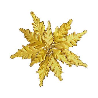 25cm Gold Velour Poinsettia Clip for Tree or Home Decoration