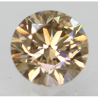 Cert 0.77 Carat Fancy Brown VVS2 Round Brilliant Natural Diamond 5.75mm EX CUT