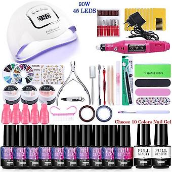 Nail Set For Manicure Kit - Uv Led Lamp With Electric Drill Machine