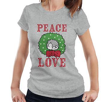 Erdnüsse Snoopy schlafen in einem Holly Kranz Frauen's T-Shirt