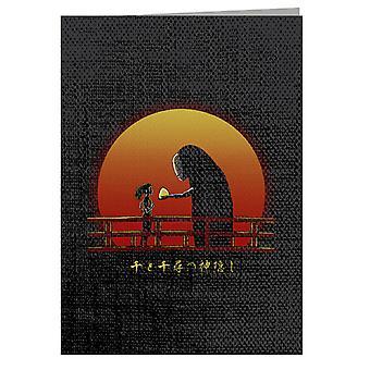 Spirited Away Chihiro On Sunset Greeting Card