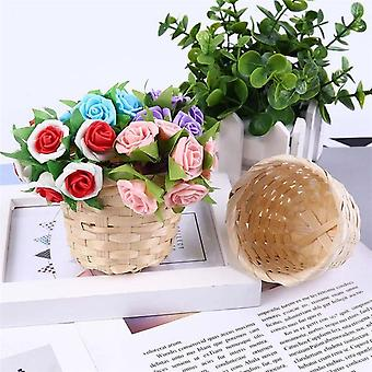 Rangement en plastique Mini tissé à la main, basket pour les cosmétiques de rotin de fruits de fleur et