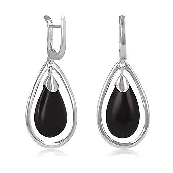 ADEN 925 Sterling Silber Onyx Drope Form Ohrringe (id 4436)