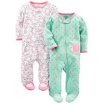 أفراح بسيطة من قبل كارتر & apos;ق الفتيات الطفل & apos; 2-حزمة القطن القدمين النوم واللعب, الوردي ...