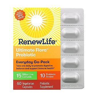 Renew Life, Everyday Go-Pack, Ultimate Flora Probiotic, 15 Billion Live Cultures