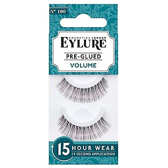 Eylure Volume Pre Glued Black False Lashes - 100 - Easy to Apply / 15 Hour Wear
