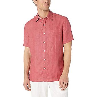 28 Palms Men's Standard-Fit Short-Sleeve 100% Linen Shirt, Nantucket Red, XX-...