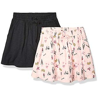 Brand - Spotted Zebra Girls' 2-Pack Knit Twirl Scooter Skirts, Ooh La...