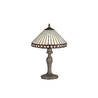 1 lampada da tavolo curva leggera E27 con 30cm Tiffany Shade, Ambra, Cristallo, Ottone Antico Invecchiato