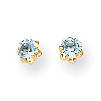 14k Yellow Gold Polished Simulated Screw back Post Earrings 4mm Synthetic Aquamarine (Mar) Screw back Earrings Measures