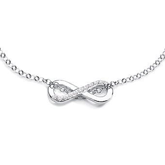 Ah! Jewellery Women's Infinity Pendant With Genuine Brilliant Crystal Rounds. Authenticity Guaranteed. 45cm Chain. Sterling Silver Stamped 925.