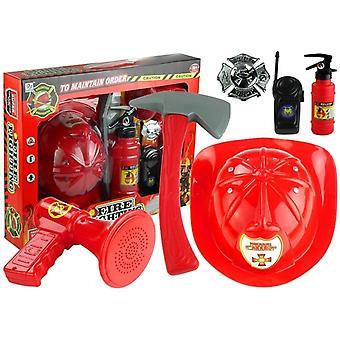 Set helmet fire extinguisher megaphone + 8 elements