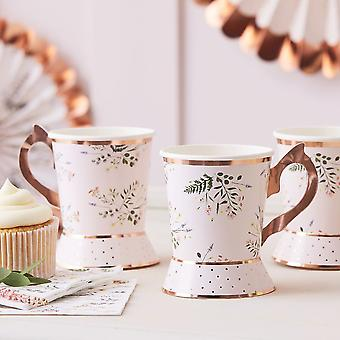 Afternoon Tea Party Paper Cups Floral x 8 Hen Party Alice in Wonderland