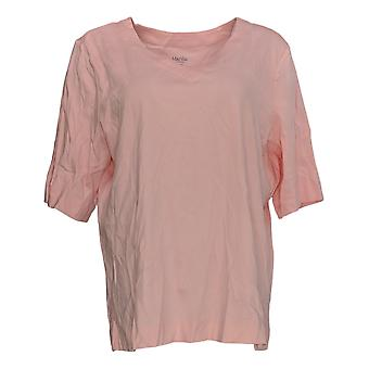 Martha Stewart Women's Top Relaxed Fit Short Sleeved V-Neck Pink A353793