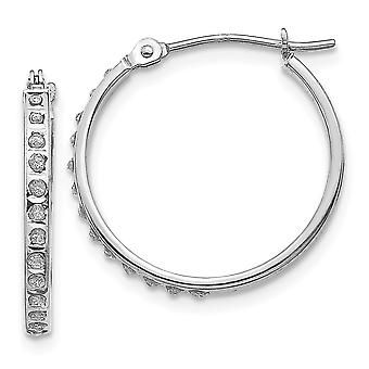 14k White Gold Polished Diamond Fascination Round Hinged Hoop Earrings Measures 20x2mm Jewelry Gifts for Women