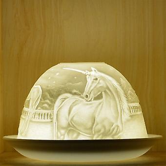 Nordic Lights Unicorn Tealight Candle Shade And Tray