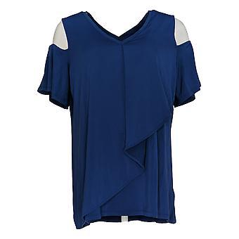 H by Halston Women's Top V-Neck Cold Shoulder Blue A306606